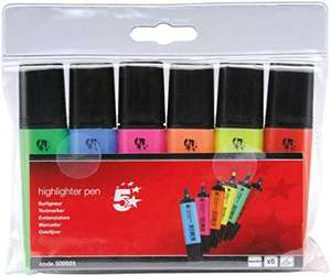 5 Star Highlighters Chisel Tip 1-4mm Line Assorted [Wallet 6] - £1.99 (Prime) £6.48 (Non Prime) @ Sold by Office Specialties Online Ltd FBA
