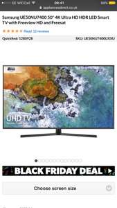 """Samsung UE50NU7400 50"""" 4K Ultra HD HDR LED Smart TV with Freeview HD and Freesat - £477.97 @ Appliances Direct"""