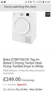 Beko heat pump A+ tumble dryer £249 @ Co Op eBay