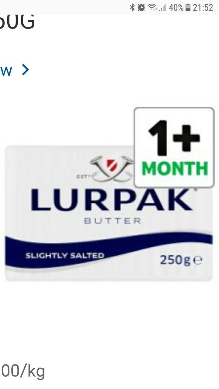 Lurpak block butter  250g 2 for £3.40 Tesco