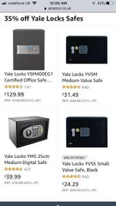 Over 35%-54% off Yale Locks Safes (£24.29 - £129.99) @ Amazon
