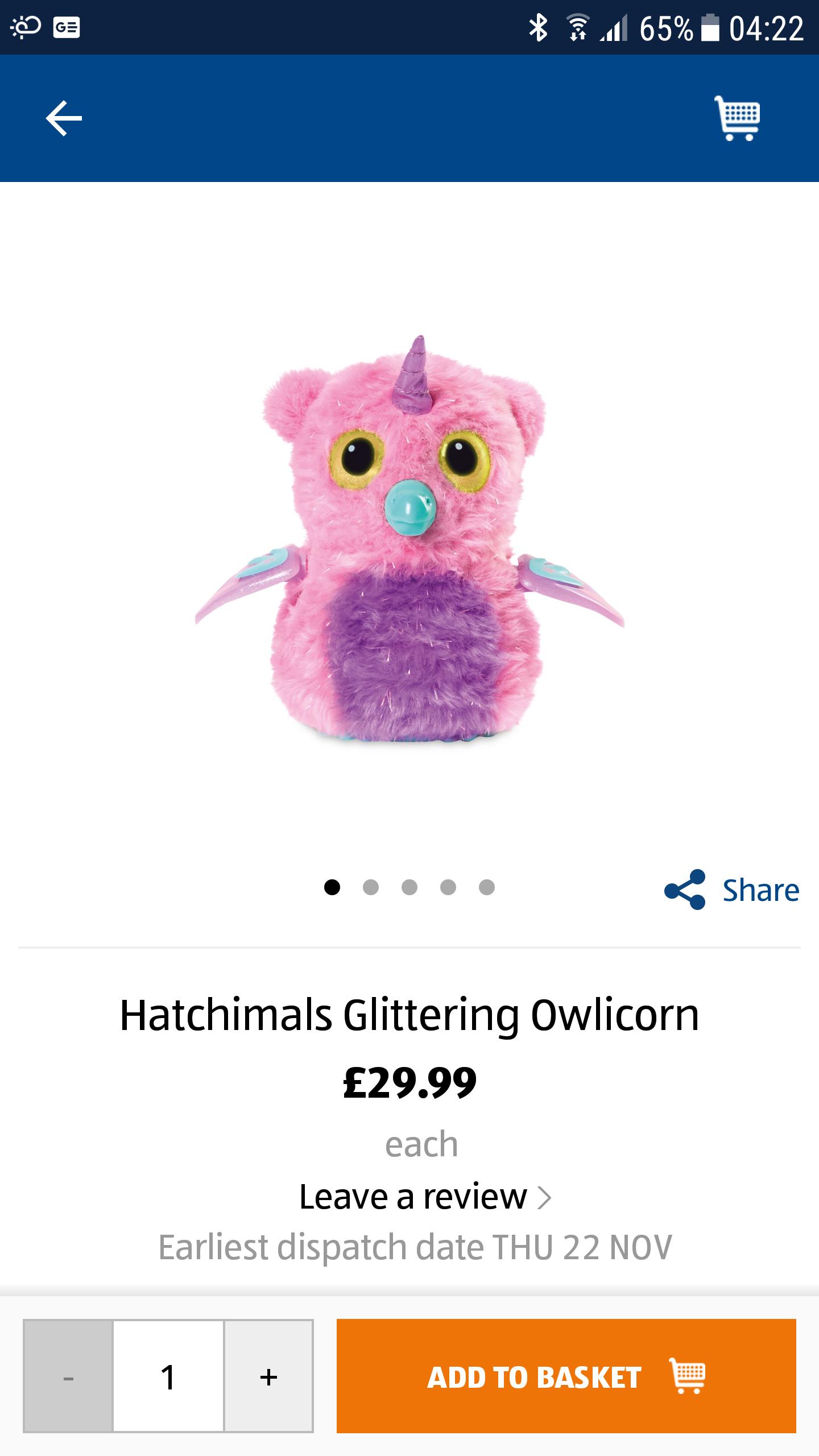 Hatchimals Glittering Owlicorn pre-order £29.99 @ ALDI online.