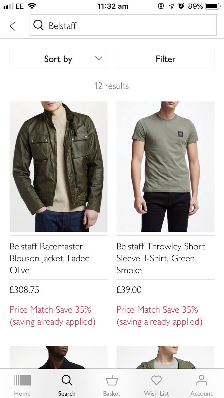 35% off Belstaff clothing @ John Lewis & Partners
