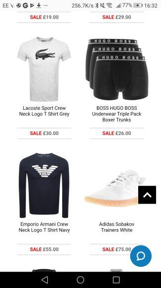 Mainline designer menswear black Friday daily deals e.g Hugo boss 2 pack crew neck T-shirts £19 - £22.50 delivered