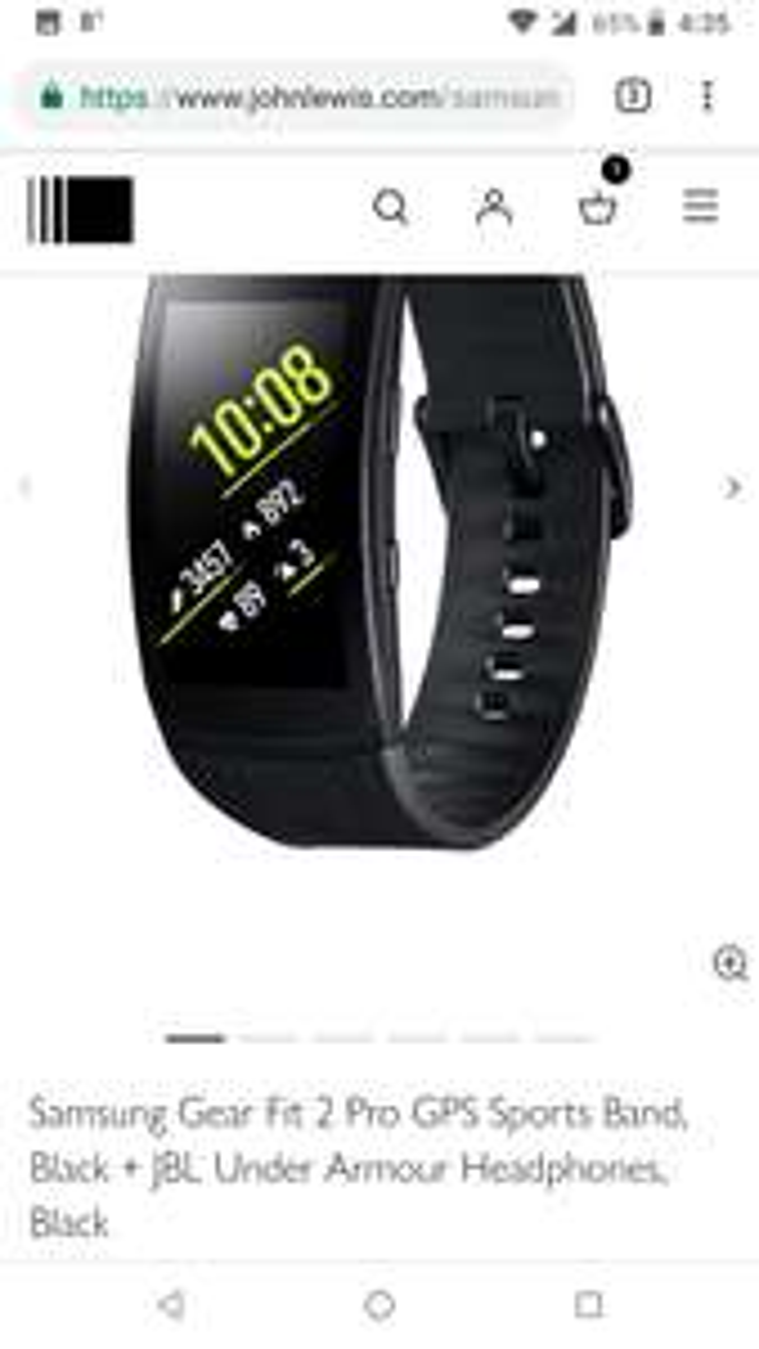 Samsung Gear Fit 2 Pro GPS Sports Band, Black + JBL Under Armour Headphones, Black - £129 @ John Lewis