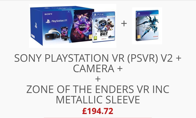 Sony PlayStation VR (PSVR) V2 + Camera + VR Worlds + Astro Bot × Zone of the Enders VR inc metallic sleeve £194.72  @ Shopto