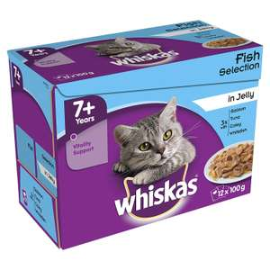 Whiskas 7+ Wet Cat Food for Senior cats Fish Selection in Jelly, 48 Pouches (12 x 100 g) £3 @ Amazon Pantry