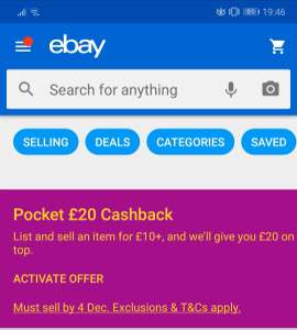£20 cashback when you sell an item for £10 or more on ebay
