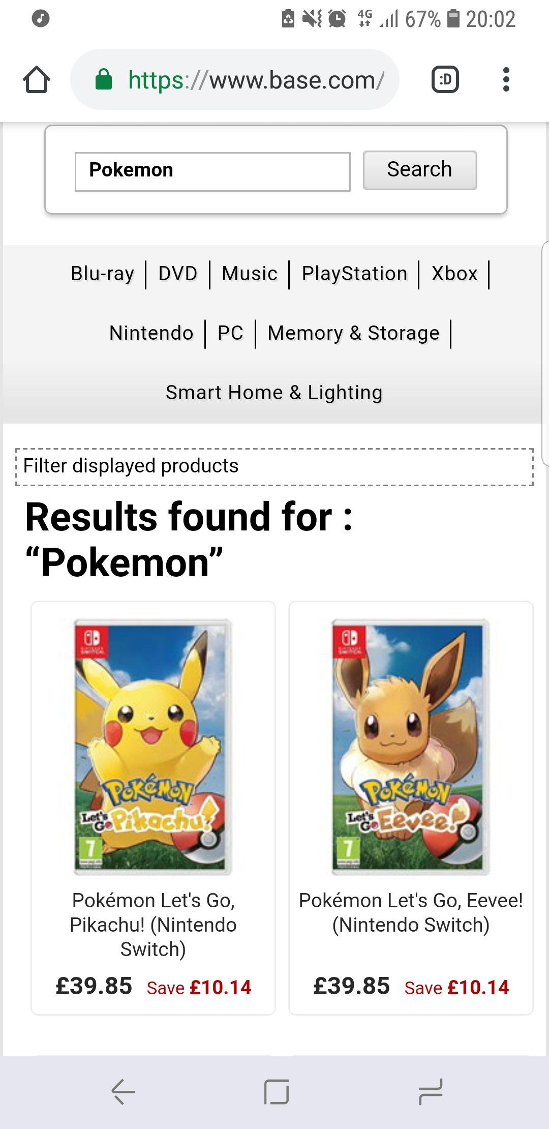 Pokemon let's go eevee and pikachu £39.85 @ Base.com