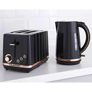 Blaupunkt Edge Toaster & Fast Boil Kettle breakfast set, Black or White now £39.99 @ B & M
