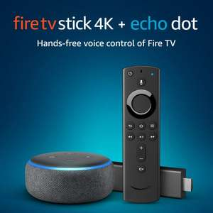 Fire TV Stick 4K UHD with All-New Alexa Voice Remote + Echo Dot (3rd Gen)