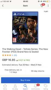 The walking dead telltale for Xbox one n PS4 at Ebay/bossdeals for £16.85