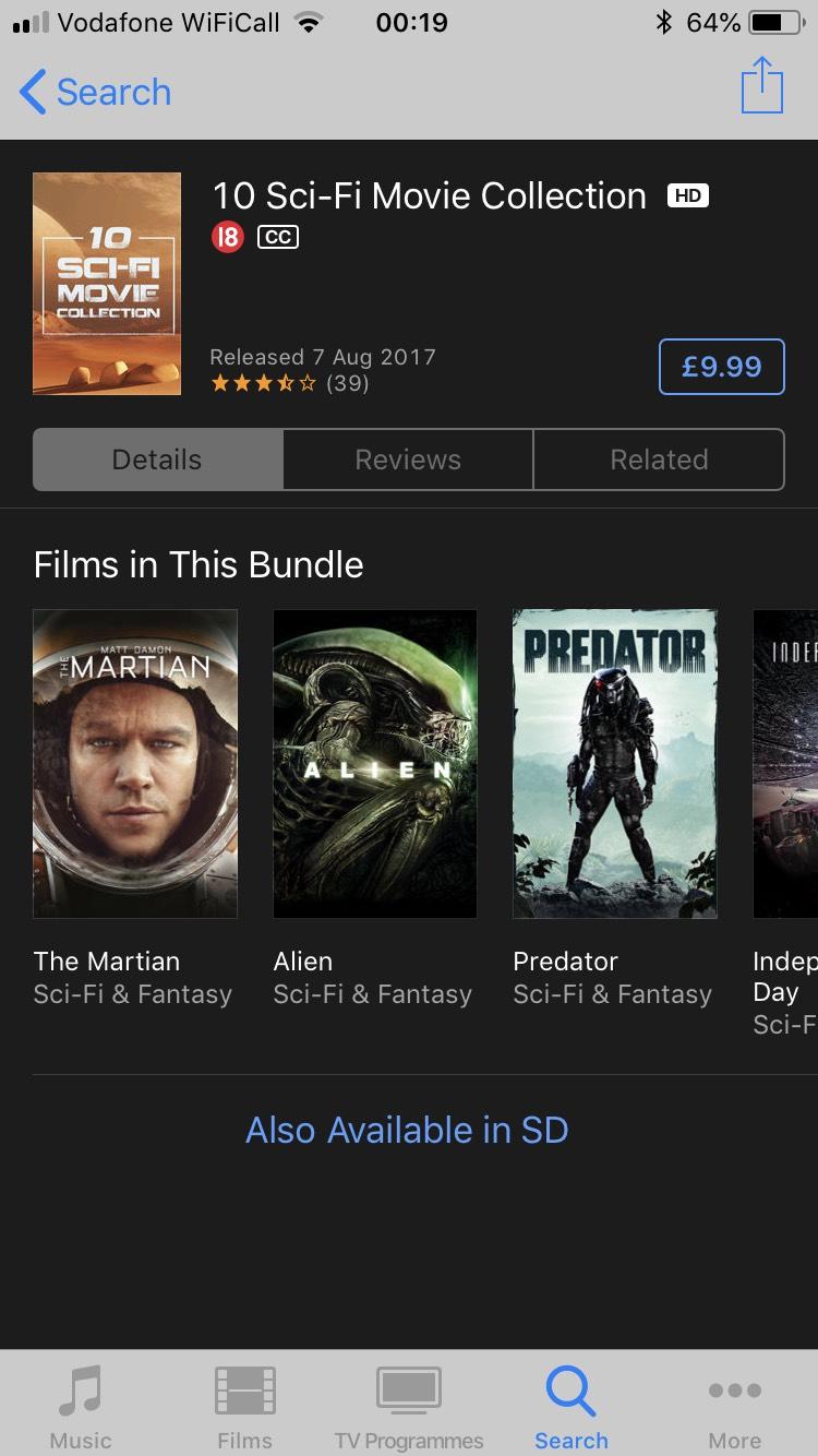 10 Sci-Fi Movies Bundle (iTunes) - £9.99