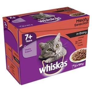 Whiskas 7+ Wet Cat Food for Senior cats Meaty Selection in Gravy, 48 Pouches, £3 Amazon Pantry (£2.99 del) - Prime Exclusive