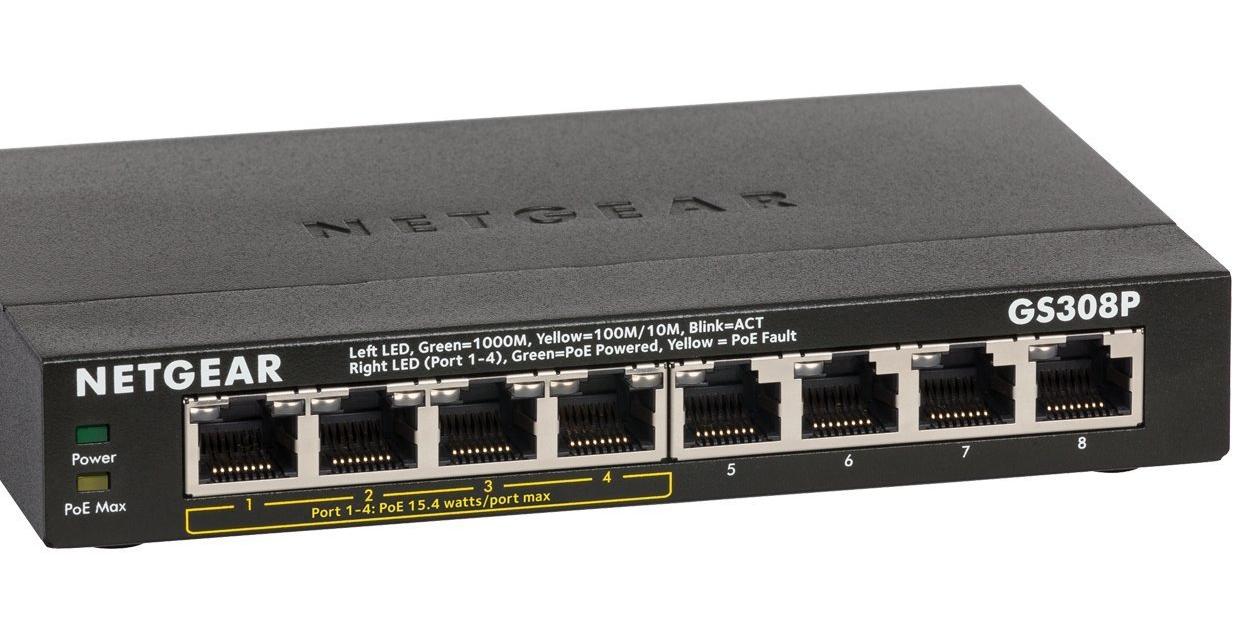 NETGEAR GS308P-100UKS 8-Port Gigabit Switch with 4-Port PoE AMAZON £44.99