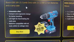 Selco Bosch GSB 18V-21 COMBI DRILL £60 Members only instore