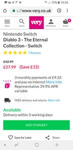 **BACK IN STOCK** Nintendo SwitchDiablo 3 - The Eternal Collection - Switch @ Very