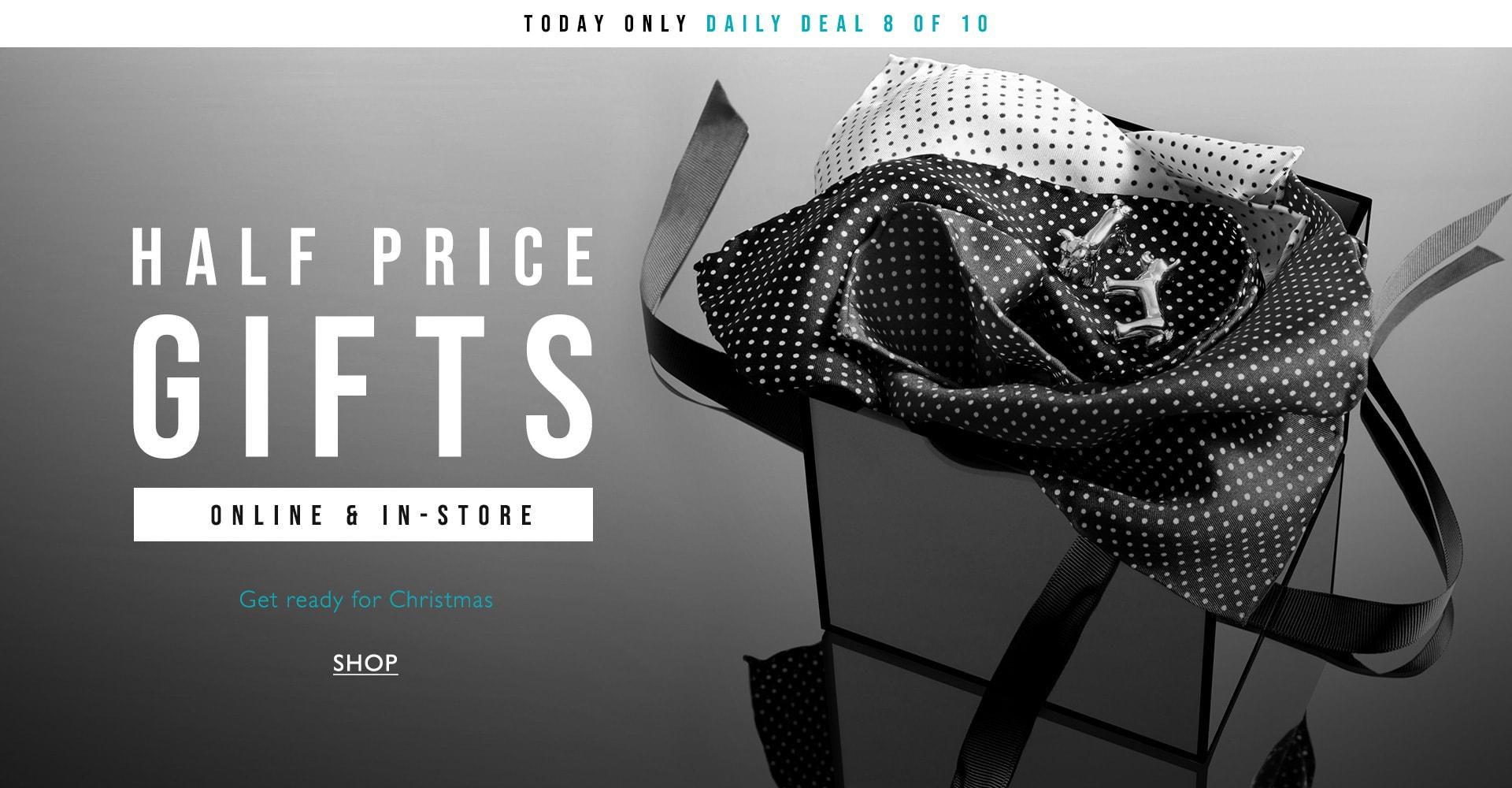 Half price gift sets eg black bonded leather belt now £7.50, 5 pack cotton socks £6, Hip flask £6, Pocket Squares £3.50 @ Moss Bros