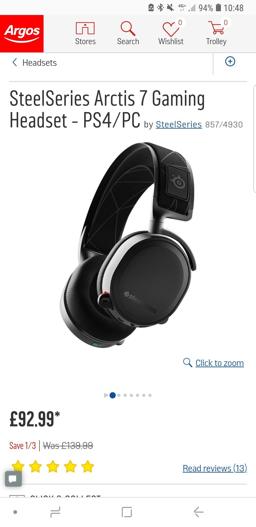 SteelSeries Arctis 7 Wireless Headset Argos £92.99