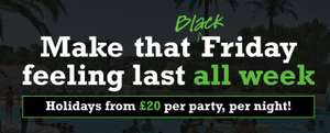 Eurocamp Black Friday offers. From £20 per night per party to £40 per night per party