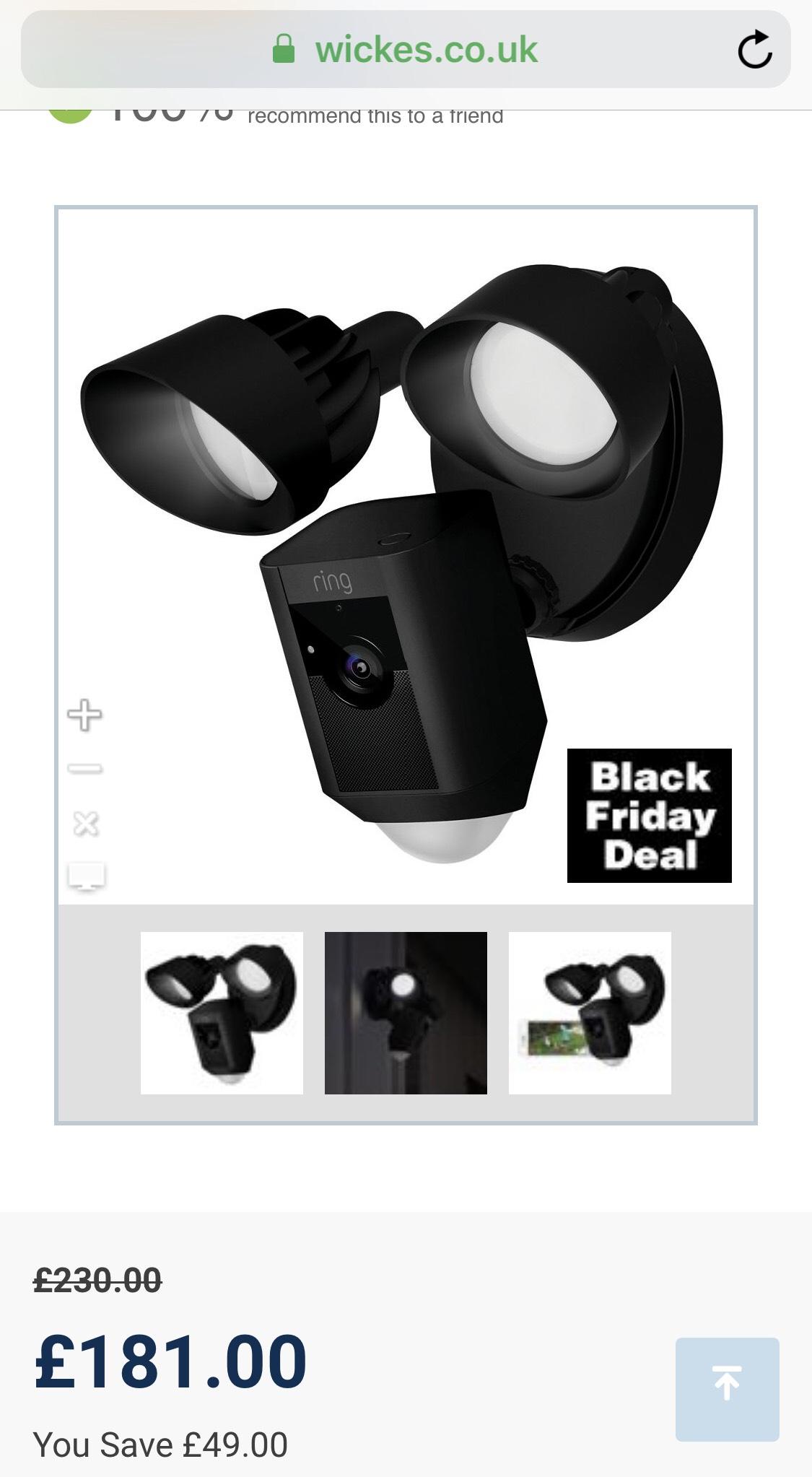 Ring outdoor floodlight camera £153.85 Wickes
