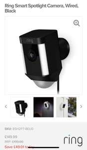 Ring outdoor cam £149.99 @ The electrical showroom