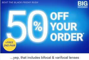 Glasses Direct 50% off your order + Free Second Pair with orders over £49 (Now includes bifocal & varifocal lenses)