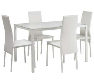 Hygena Lido Glass Dining Table & 4 Chairs - White or Black