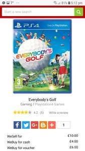 Everybody's golf ps4 @ cex - £10 / £11.50 Delivered