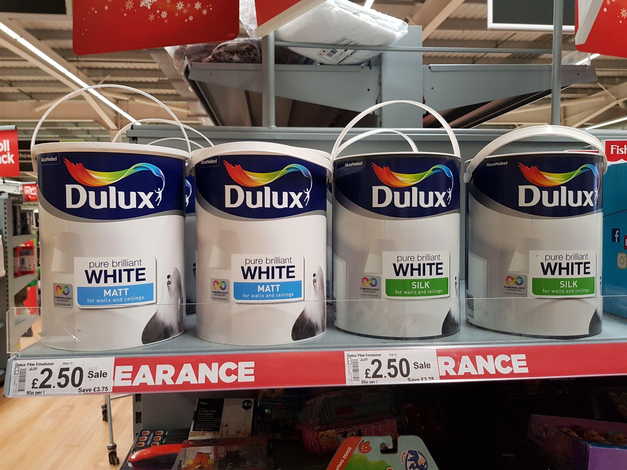 5L Dulux white paint!! Matt and silk 2.50 instore @ ASDA