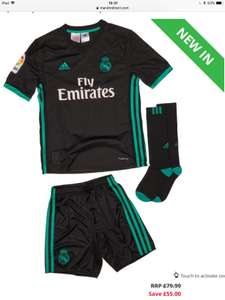 Age 7-8 up to 13-14 years, boys full Adidas Real Madrid mini kits (black or white) £24.99 plus P&P £4.99 or Free with Premier @ MandM Direct