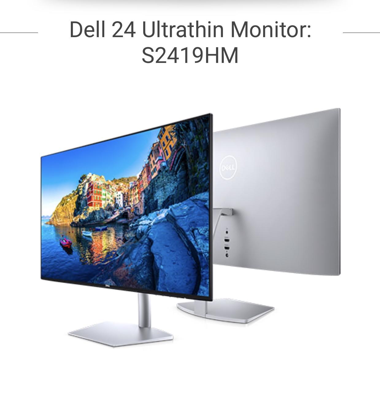 "DELL ULTRATHIN FHD HDR 24"" IPS MONITOR + 3 YEAR DELL WARRANTY - £152 @ Dell"