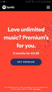 Spotify premium 3 months for £0.99 (New customers)