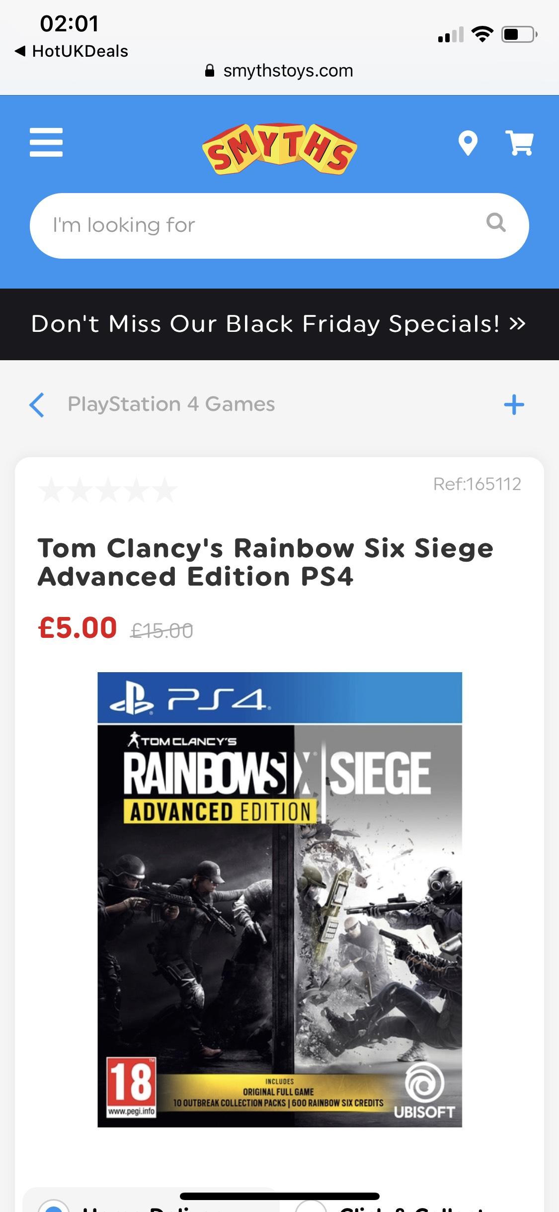 Tom Clancy's Rainbow Six Siege Advanced Edition PS4 £5 Smyths Toys