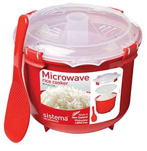 Sistema Microwave Rice Cooker, 2.6 L - Red/Clear at Amazon for £6.65 Prime / £9.14 non-Prime