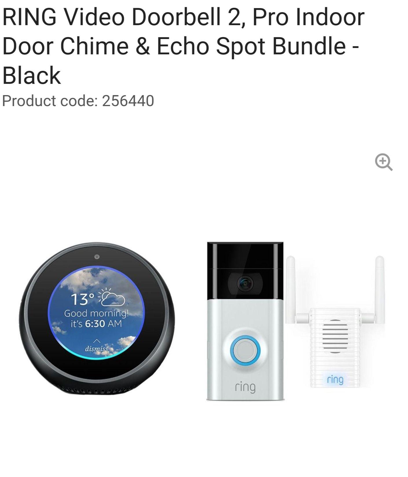 RINGVideo Doorbell 2, Pro Indoor Door Chime & Echo Spot Bundle - Black £149.99 @ Currys
