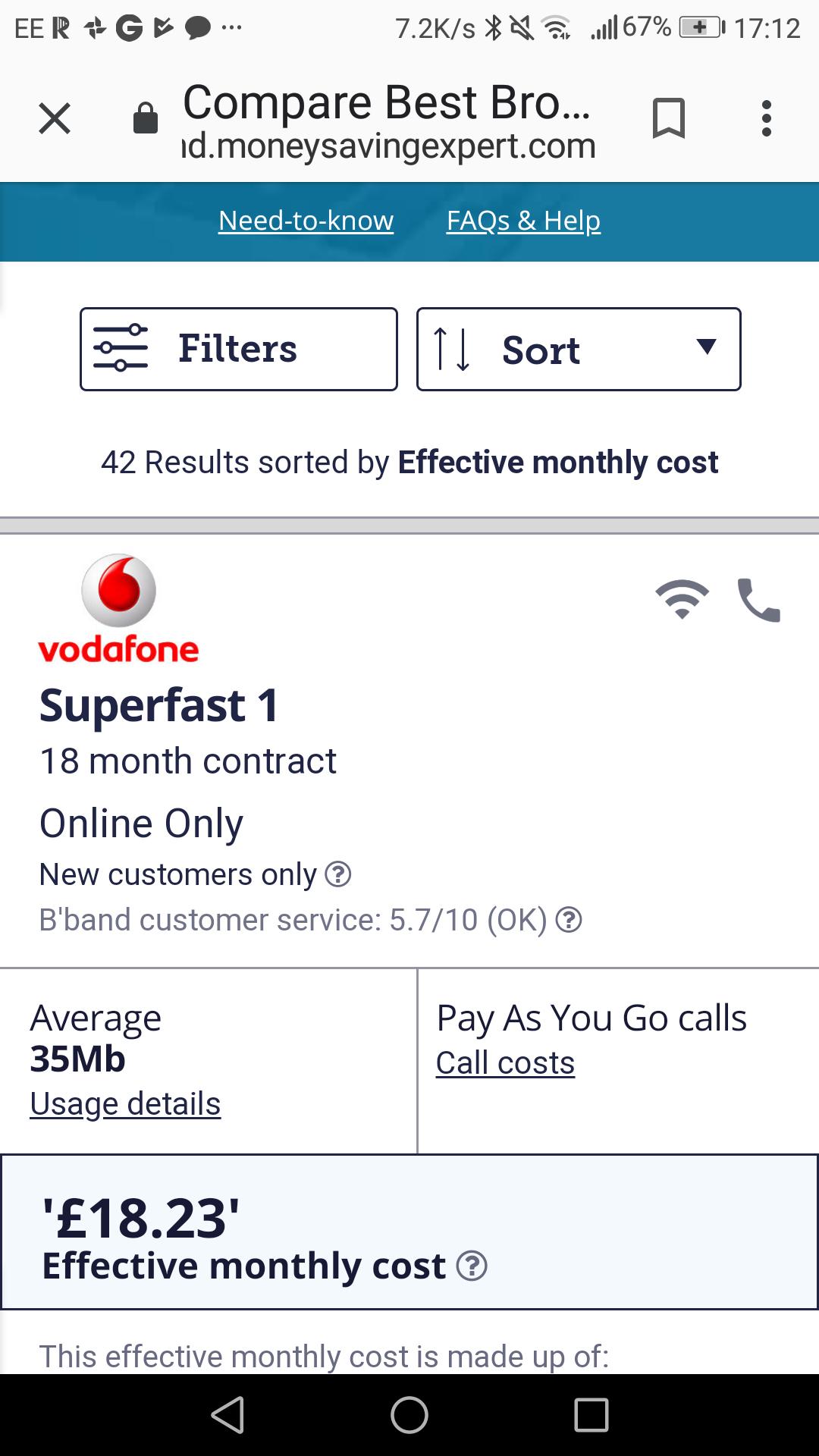 Superfast Vodaphone broadband.35mb. £21 p/m 18 months - £378 - Via moneysavingexpert