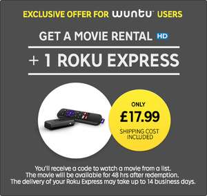 Roku Express + Movie Rental Only £17.99 @ Rakuten TV