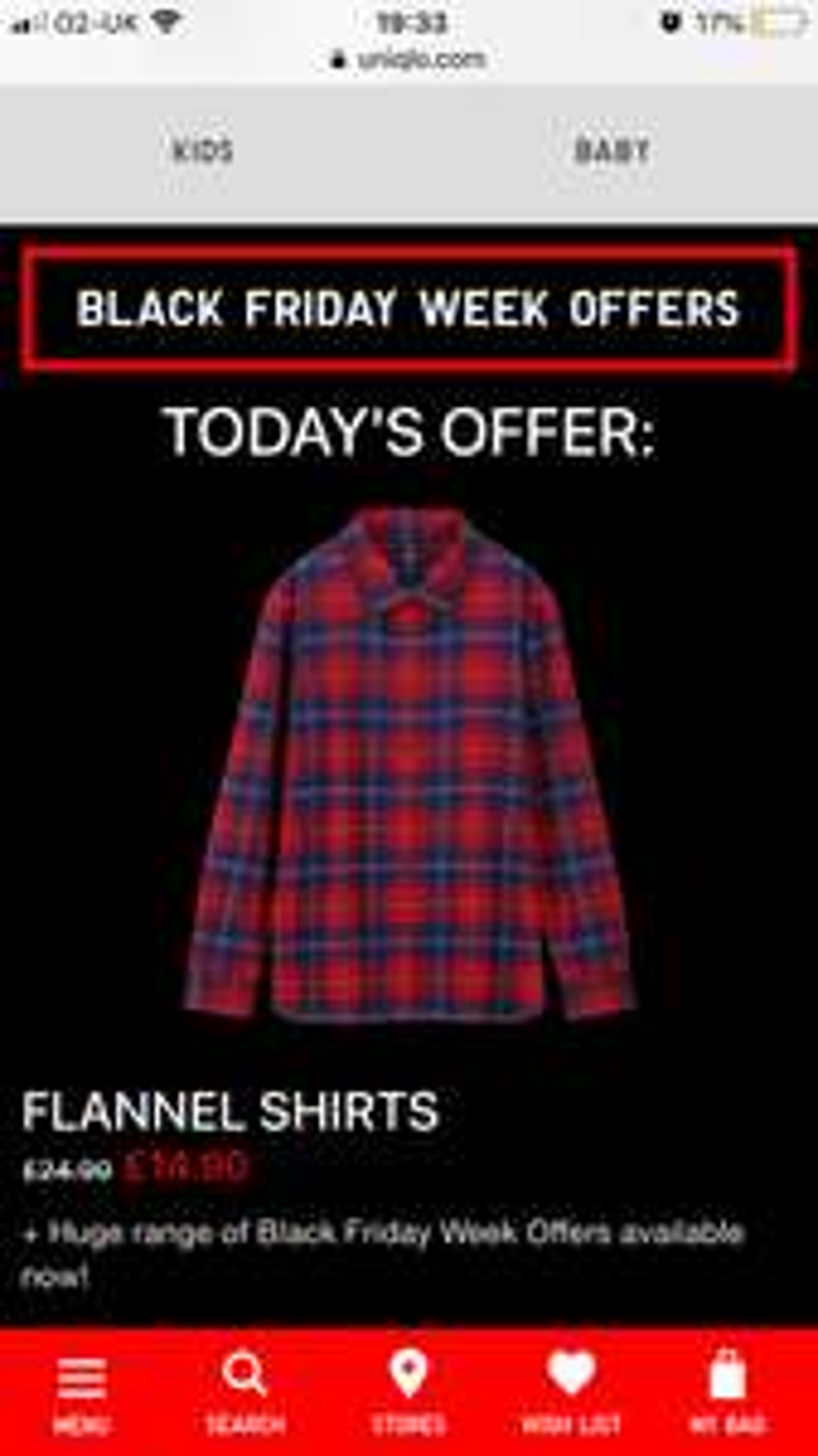 Uniqlo Black Friday days offer - Flannel Shirts £14.90