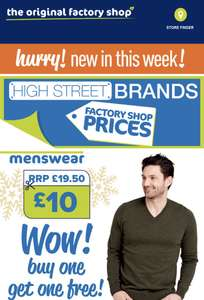 2 for £10  M&S Mens Jumpers V Neck  & Crew Neck all colours normally £19.50 each see op for colours in store @ The Original Factory Shop