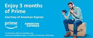 3 Months of Prime courtesy of American Express (worth $39/£30) + $15 Reward @ Amazon US - email invitation only