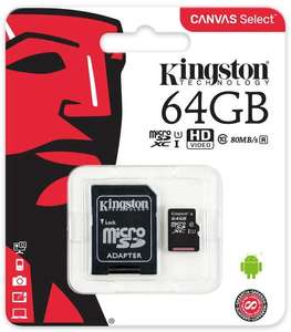 Kingston SDCS/64GB Canvas Select 64 GB microSD Card With SD Adapter Class10 UHS-I U1 Speeds, for £9.09 (For Prime Members), at Amazon