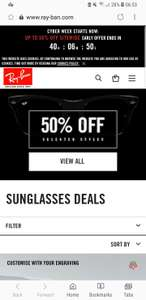 just got an email from Ray-Ban - 50% off selected style / 20% off everything - Black Friday Deals - from £49
