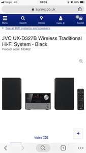 JVC UX-D327B Wireless Traditional Hi-Fi System - £59.99 Delivered Currys