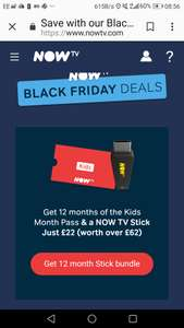 NOW TV stick with 12 month's kids pass just £22.