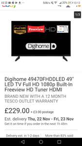 """Is the biggest TV for the smallest money. Digihome 49470FHDDLED 49"""" LED TV  £229 Tesco on eBay"""