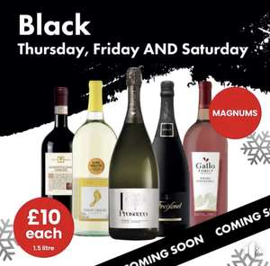 1.5l magnums of Freixenet, I heart Prosecco, Barefoot Pinot Grigio, Gallo white Zinfandel & Montepulciano £10 @ Bargain Booze