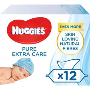 Huggies Pure Extra Care Baby Wipes, Pack of 12 x 56 sensitive baby wipes (672 Wipes) @ Amazon Deal Of The Day £8.39 Prime £12.88 Non Prime