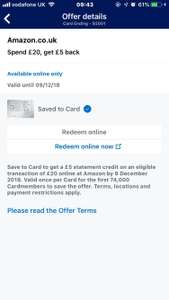 Amex offer £5 credit on £20 spend on Amazon (account specific)