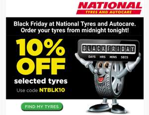 10% off selected tyres @ national tyres